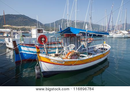 Small Colorful Wooden Fishing Boats, Corsica