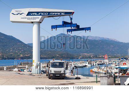 Yacht Crane In Marina Of Propriano, Corsica