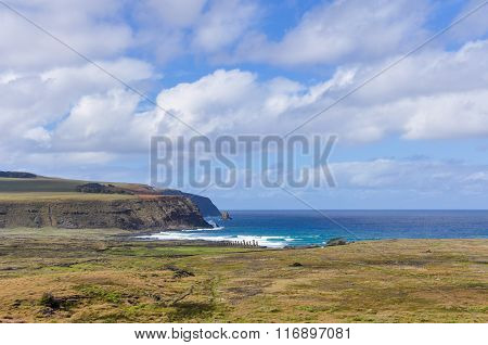 View Of Ahu Tongariki Site In Easter Island, Chile