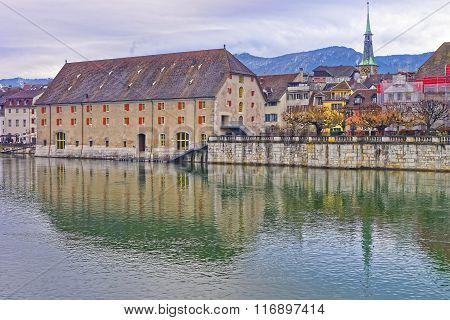 Waterfront With Landhaus And Clock Tower In Solothurn In Switzerland