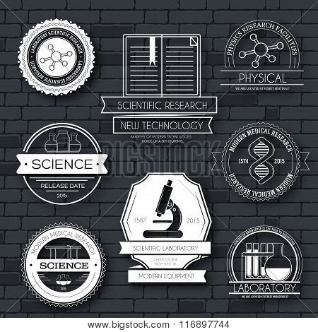 Science label template set. Emblem element for your product or design, web and mobile applications w