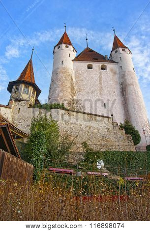 View Of Thun Castle At Stone Stairs In Swiss
