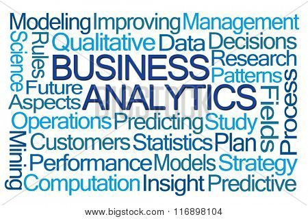 Business Analytics Word Cloud on White Background