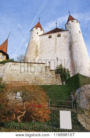 View Of Thun Castle At Stone Steps In Switzerland