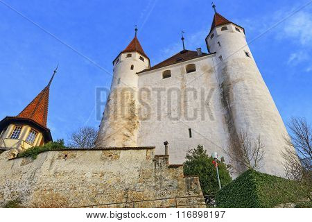 THUN SWITZERLAND - JANUARY 1 2014: View on Thun Castle at stone steps. Thun Castle is a Castle Museum in the Thun city in the Swiss canton of Bern where the Aare river flows out of Lake Thun
