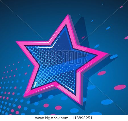 Vector Illustration Of Big Star With Glowing Spots On Dark Blue  Background.