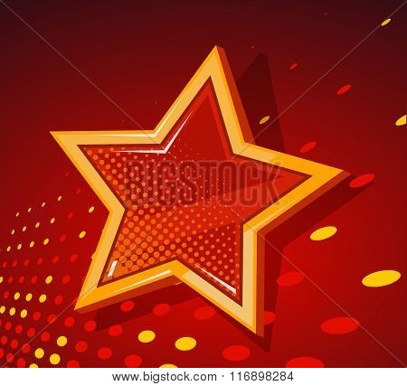 Vector Illustration Of Big Golden Star With Glowing Spots On Dark Red  Background.