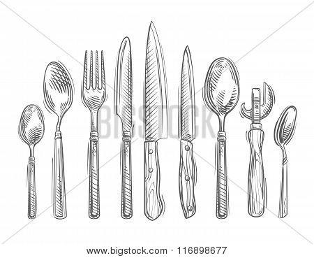 Cooking. Hand-drawn set of kitchen tools - spoon, fork, knife, bottle opener, teaspoon