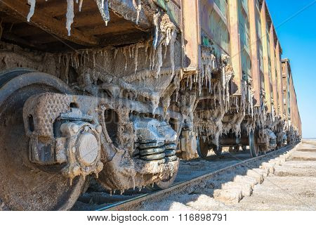 Railroad Cars Loaded With Salt.