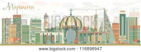 Abstract Manama Skyline with Color Buildings. Vector Illustration. Business Travel and Tourism Concept with Modern Buildings. Image for Presentation Banner Placard and Web Site.