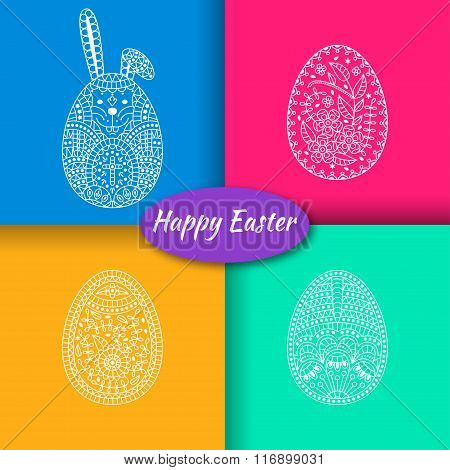 Set of three Easter eggs and white easter rabbit. Modern material background at the back. Vector ill