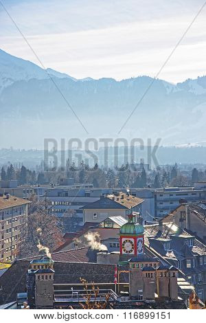 Panorama Of Houses In Thun And The Alps