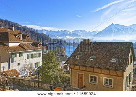Panorama Of City Of Thun With Thunersee And Alps