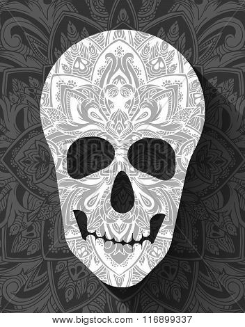 skull for the illustrations concept on day of the dead. Vector template colorful abstract decorative