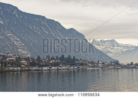 Panoramic View Of Montreux And Lake Geneva In Winter