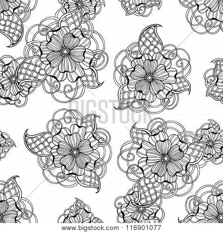 Vector seamless vintage floral pattern
