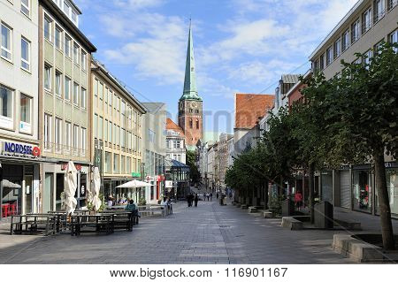 Breitestrasse With View Of The Saint James Church, Lubeck, Germa