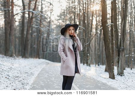 Young Beautiful Girl In A Stylish Hat And Coat Walking In The Winter Park