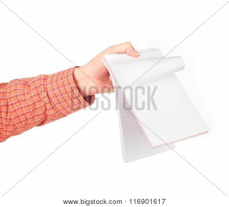 Hand Show The Opened Notebook Isolated On White Background