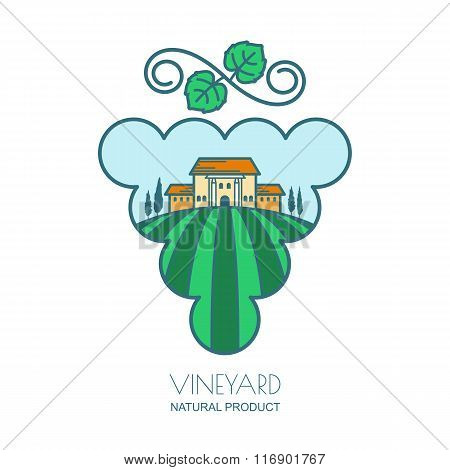 Green Landscape With Vineyard Fields, Villa, Trees In Grape Berries Shape
