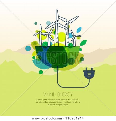 Vector Illustration Of Earth With Wind Turbines, And Wire Plug.