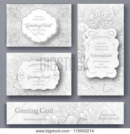 Set of wedding card flyer pages ornament illustration concept. Vintage art traditional, Islam, arabi