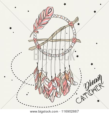 Vector Dreamcatcher Amulet. Ethnic vector illustration, tribal