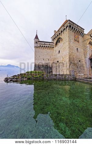 Clock Tower Of Chillon Castle On Lake Geneva In Switzerland
