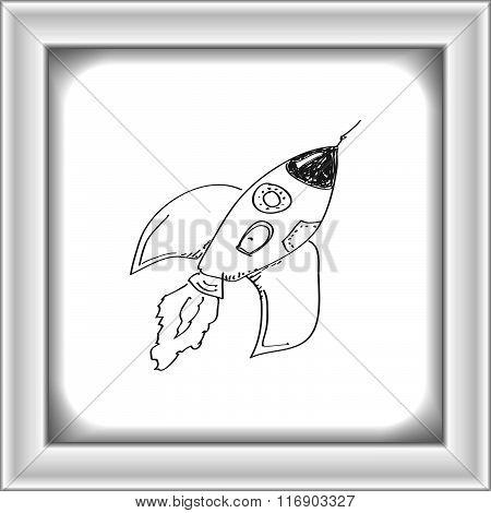 Simple Doodle Of A Rocket