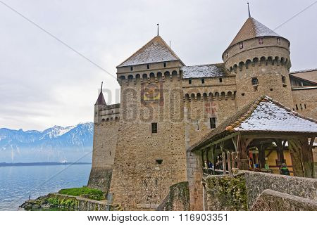 Entrance To Chillon Castle On Lake Geneva In Switzerland