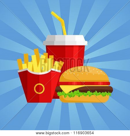 Lunch with Hamburger, French Fries and Soda on blue background. Group of fast food products. Flat de