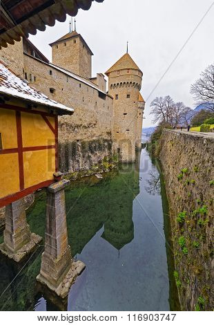 Entrance View To Chillon Castle On Lake Geneva In Switzerland