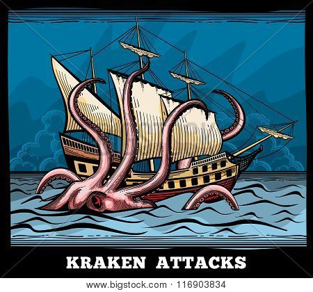 Sailing vessel and Kraken monster octopus vector logo in cartoon style