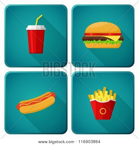 Icons set lunch with Hamburger, Hot Dog,  French Fries and Soda. Group of Fast Food products. Vector