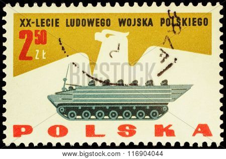 Armored Troop-carrier On Postage Stamp