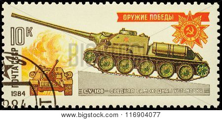 World War Ii Soviet Medium Self-propelled Gun Su-100 On Postage Stamp