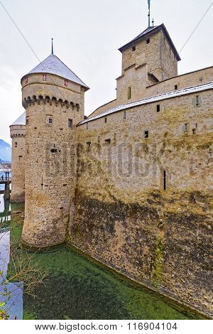 Front Tower Of Chillon Castle On Lake Geneva In Switzerland