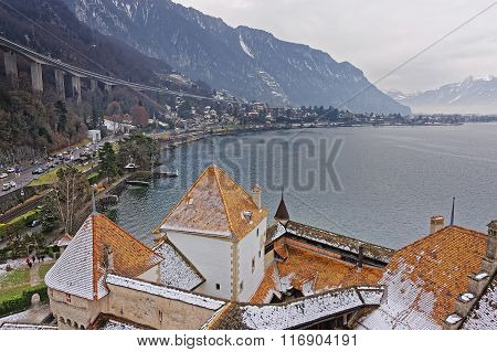 VEYTAUX SWITZERLAND - JANUARY 2 2015: View to Montreux from Tower of Chillon Castle. It is an island castle on Lake Geneva (Lac Leman) in the Vaud between Montreux and Villeneuve.