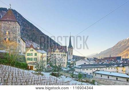 St Martin Church And Vineyard In Chur At Sunrise