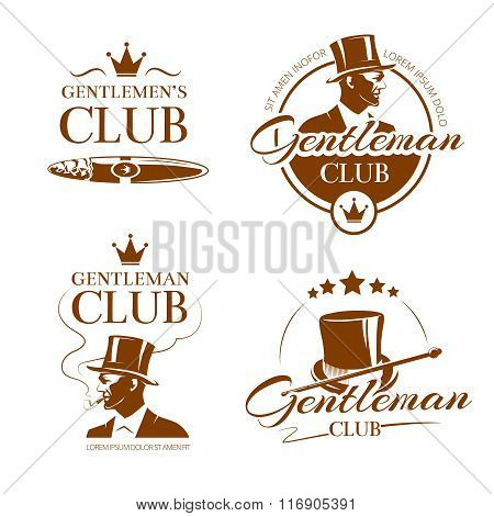Vintage gentleman club vector emblems, labels, badges