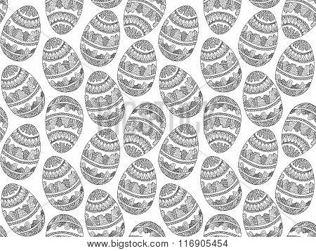 Easter Zentangle Eggs Ethnic Native Abstract Pattern Black White