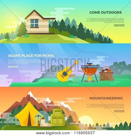 Camping vector flat banner set