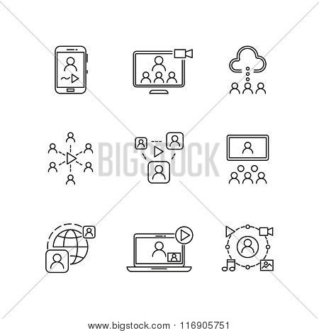 Video conference and online communication vector line icons