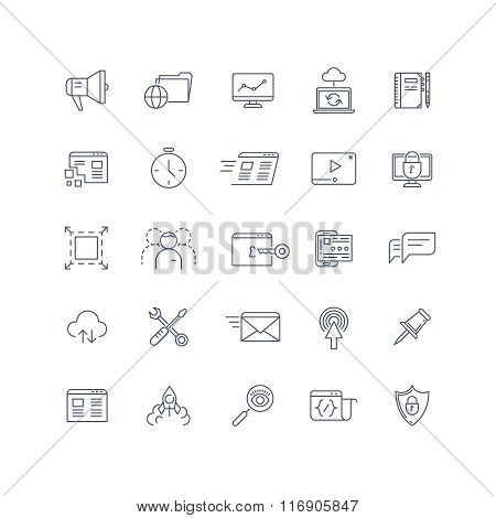 Search engine optimization, seo service vector line icons set