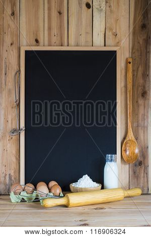 Chalkboard With Copy Space And Pastry Ingredients