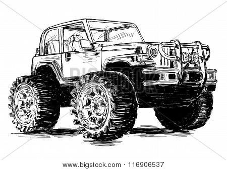 Extreme Sports - 4X4 Sports Utility Vehicle Suv Vector Illustration