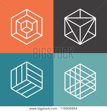 Hexagon vector logos in outline linear style