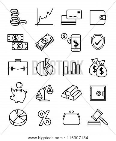 Finance, payments and money line vector icons set