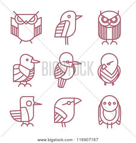 Bird vector linear icons set