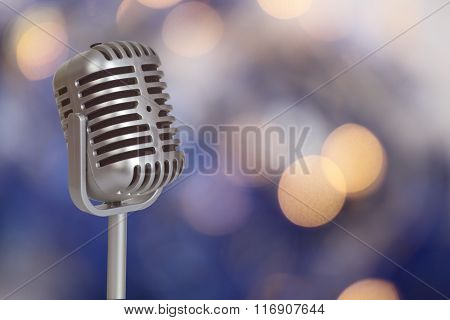 Retro Microphone With Bokeh Background